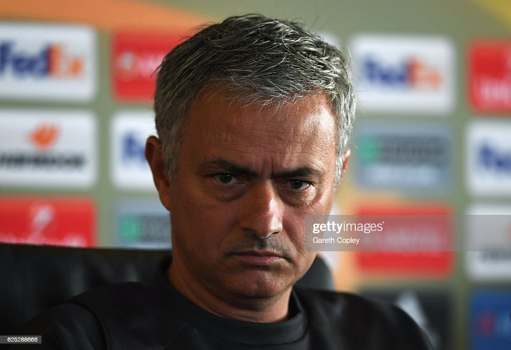Jose Mourinho manager of Manchester United speaks during a Manchester United press conference on the eve of their UEFA Europa League match against Feyenoord at Aon Training Complex on November 23, 2016 in Manchester, England.