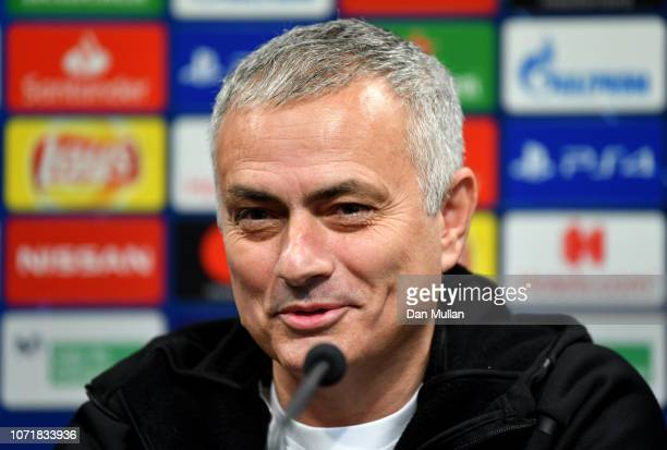 Jose Mourinho Manager of Manchester United speaks to the media during the Manchester United Press Conference at Estadio Mestalla on December 11 2018...
