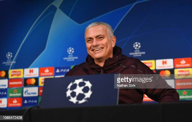 Jose Mourinho manager of Manchester United talks during a press conference at Old Trafford on November 26 2018 in Manchester England
