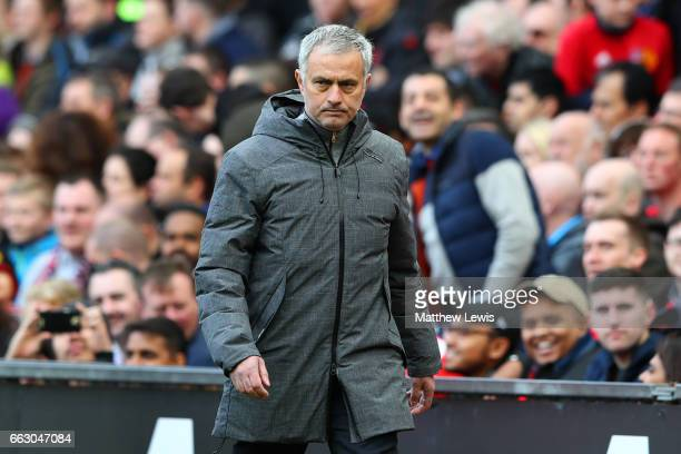 Jose Mourinho Manager of Manchester United walks off at half time during the Premier League match between Manchester United and West Bromwich Albion...