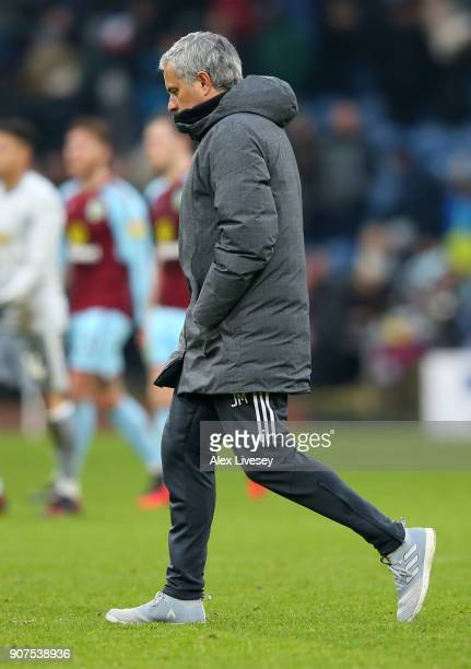 Jose Mourinho Manager of Manchester United walks off at half time during the Premier League match between Burnley and Manchester United at Turf Moor...