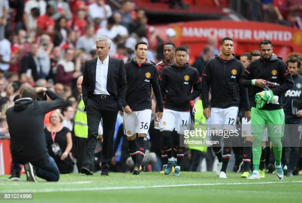 Jose Mourinho Manager of Manchester United walks to the Manchester United bench prior to the Premier League match between Manchester United and West...