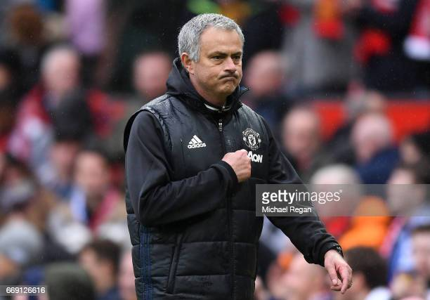 Jose Mourinho Manager of Manchester United walks towards the tunnel after the Premier League match between Manchester United and Chelsea at Old...