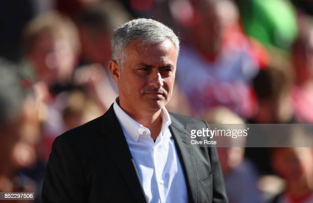 Jose Mourinho Manager of Manchester Unted looks on prior to the Premier League match between Southampton and Manchester United at St Mary's Stadium...