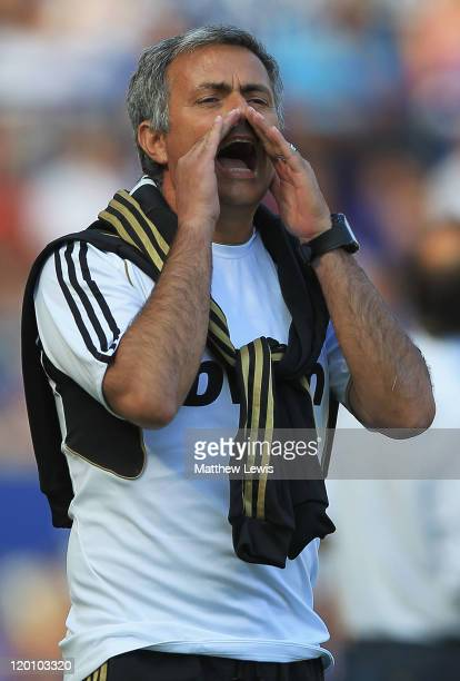 Jose Mourinho manager of Real Madrid gives out instructions during the PreSeason Friendly match between Leicester City and Real Madrid at The King...