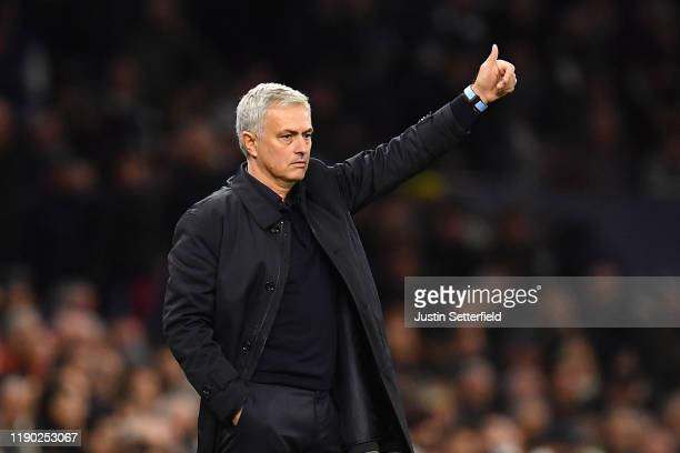 Jose Mourinho Manager of Tottenham Hotspur acknowledges the fans during the UEFA Champions League group B match between Tottenham Hotspur and...