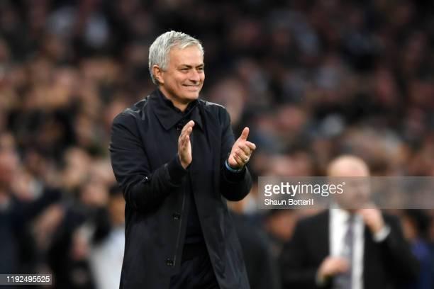 Jose Mourinho, Manager of Tottenham Hotspur applauds after Heung-Min Son of Tottenham Hotspur scores his team's third goal during the Premier League...