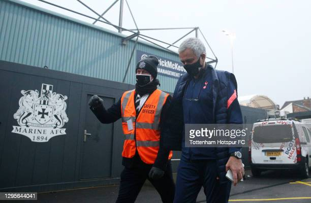 Jose Mourinho, Manager of Tottenham Hotspur arrives at the stadium prior to the FA Cup Third Round match between Marine and Tottenham Hotspur at...