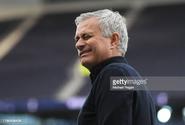Jose Mourinho Manager of Tottenham Hotspur arrives prior to the Premier League match between Tottenham Hotspur and Chelsea FC at Tottenham Hotspur...