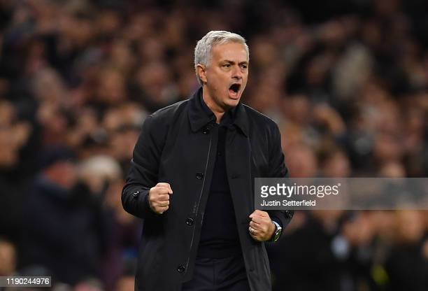 Jose Mourinho Manager of Tottenham Hotspur celebrates after Harry Kane of Tottenham Hotspur scored their teams second goal during the UEFA Champions...