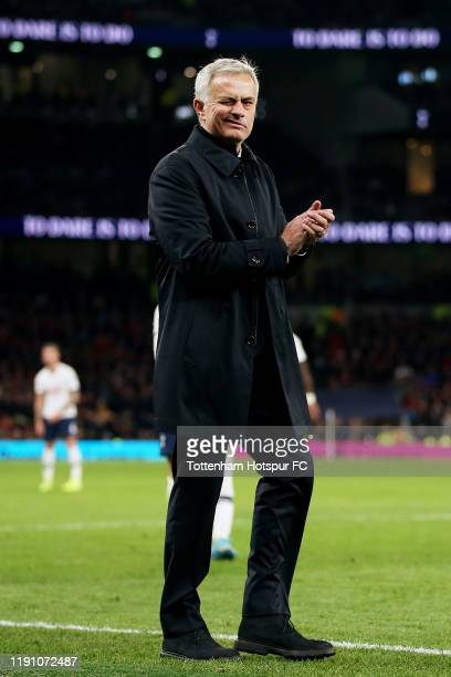 Jose Mourinho Manager of Tottenham Hotspur celebrates following his team's victory after the Premier League match between Tottenham Hotspur and AFC...
