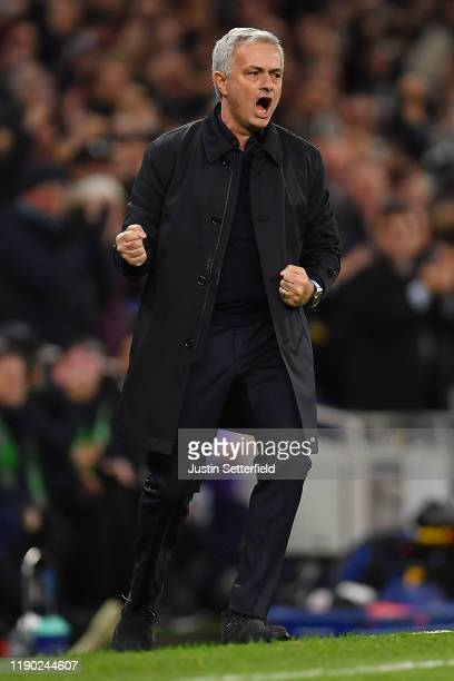 Jose Mourinho Manager of Tottenham Hotspur celebrates his team's second goal during the UEFA Champions League group B match between Tottenham Hotspur...