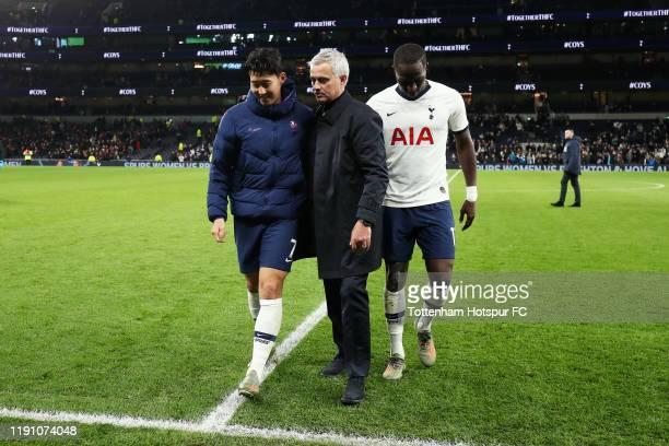 Jose Mourinho Manager of Tottenham Hotspur congratulates HeungMin Son and Moussa Sissoko of Tottenham Hotspur following the Premier League match...