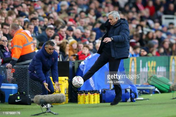 Jose Mourinho, Manager of Tottenham Hotspur controls the ball during the FA Cup Third Round match between Middlesbrough and Tottenham Hotspur at...