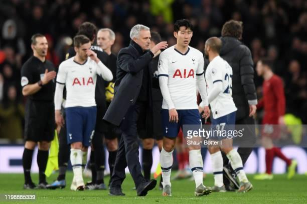 Jose Mourinho Manager of Tottenham Hotspur embraces HeungMin Son of Tottenham Hotspur after the Premier League match between Tottenham Hotspur and...