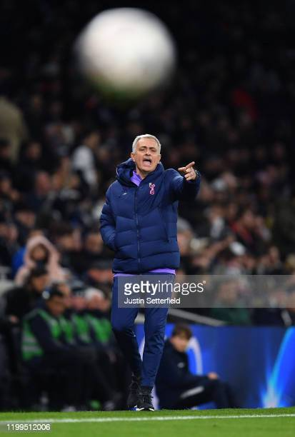 Jose Mourinho, manager of Tottenham Hotspur gestures from the touchline during the FA Cup Third Round Replay match between Tottenham Hotspur and...