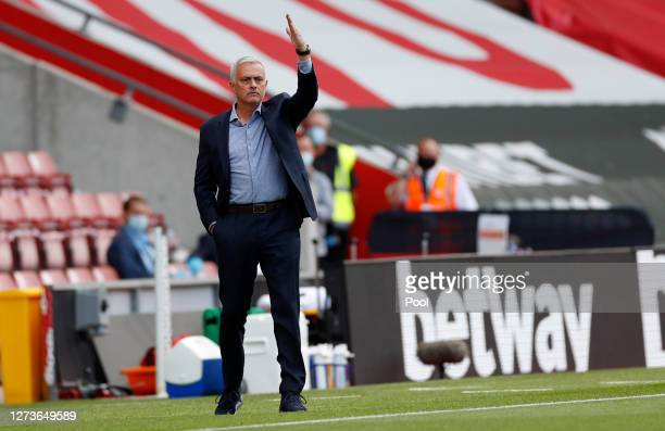 Jose Mourinho Manager of Tottenham Hotspur gives his team instructions during the Premier League match between Southampton and Tottenham Hotspur at...