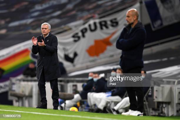 Jose Mourinho Manager of Tottenham Hotspur gives his team instructions during the Premier League match between Tottenham Hotspur and Manchester City...