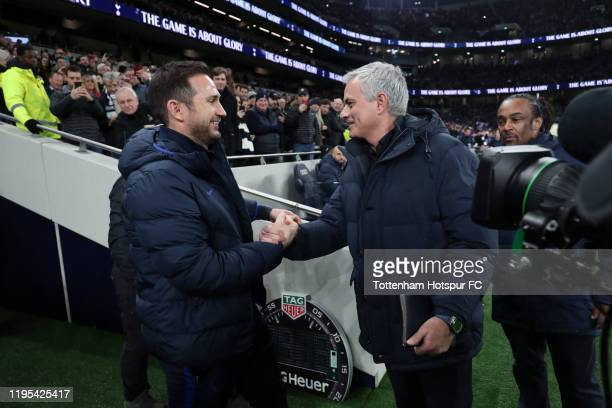 Jose Mourinho Manager of Tottenham Hotspur greets Frank Lampard Manager of Chelsea prior to the Premier League match between Tottenham Hotspur and...