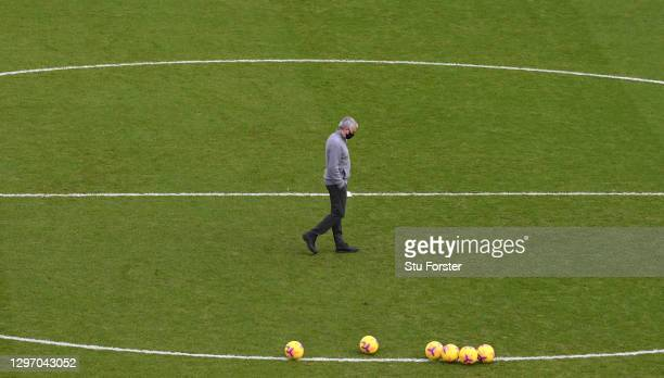 Jose Mourinho, Manager of Tottenham Hotspur inspects the pitch prior to the Premier League match between Sheffield United and Tottenham Hotspur at...