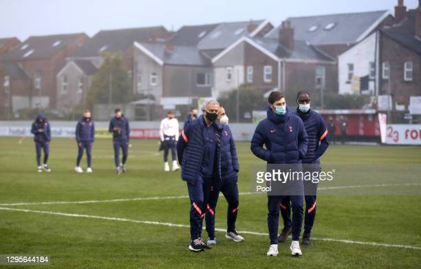Jose Mourinho, Manager of Tottenham Hotspur inspects the pitch with his players ahead of the FA Cup Third Round match between Marine and Tottenham...