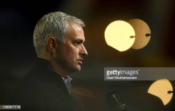 Jose Mourinho, Manager of Tottenham Hotspur is interviewed prior to the UEFA Europa League Group J stage match between Royal Antwerp and Tottenham...
