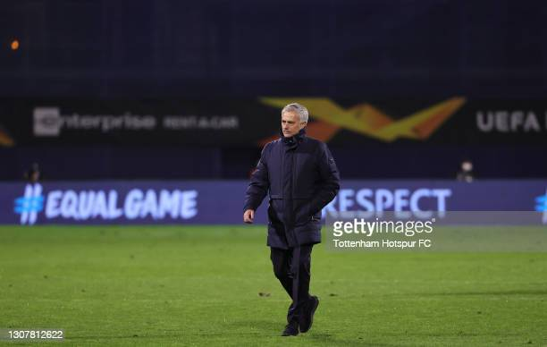 Jose Mourinho, Manager of Tottenham Hotspur looks dejected as he leaves the pitch following defeat in the UEFA Europa League Round of 16 Second Leg...