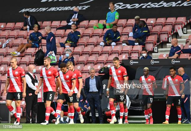 Jose Mourinho Manager of Tottenham Hotspur looks on as the Southampton players walk out prior to the Premier League match between Southampton and...