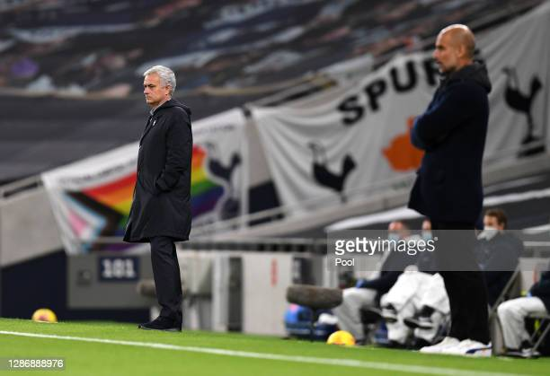 Jose Mourinho, Manager of Tottenham Hotspur looks on during the Premier League match between Tottenham Hotspur and Manchester City at Tottenham...