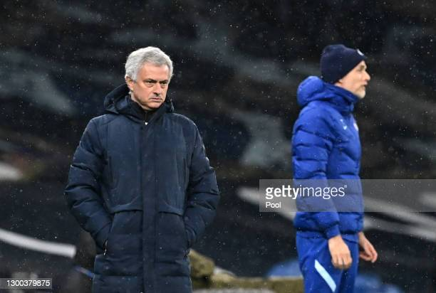 Jose Mourinho, Manager of Tottenham Hotspur looks on during the Premier League match between Tottenham Hotspur and Chelsea at Tottenham Hotspur...