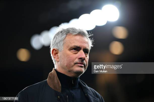 Jose Mourinho, Manager of Tottenham Hotspur looks on following the Premier League match between Arsenal and Tottenham Hotspur at Emirates Stadium on...