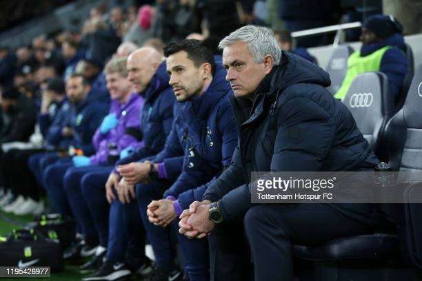 Jose Mourinho, Manager of Tottenham Hotspur looks on from the bench prior to the Premier League match between Tottenham Hotspur and Chelsea FC at...