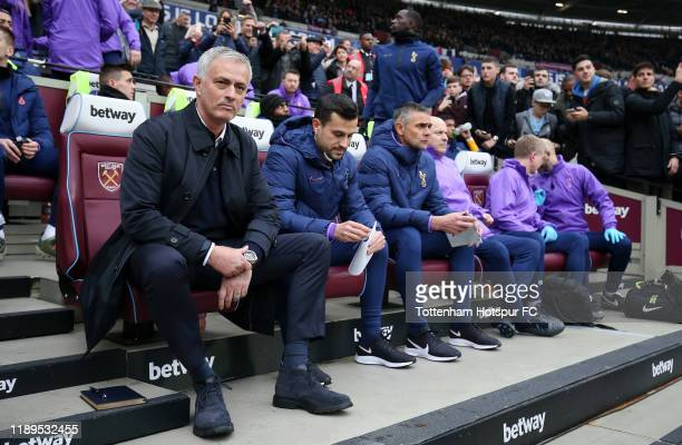 Jose Mourinho Manager of Tottenham Hotspur looks on prior to the Premier League match between West Ham United and Tottenham Hotspur at London Stadium...