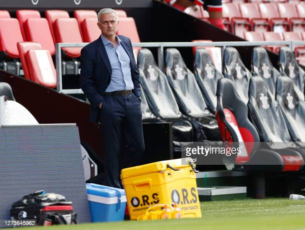 Jose Mourinho Manager of Tottenham Hotspur looks on prior to the Premier League match between Southampton and Tottenham Hotspur at St Mary's Stadium...