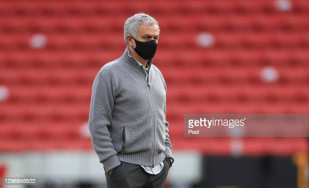 Jose Mourinho, Manager of Tottenham Hotspur looks on prior to the Premier League match between Sheffield United and Tottenham Hotspur at Bramall Lane...