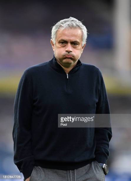 Jose Mourinho, Manager of Tottenham Hotspur looks on prior to the Premier League match between Everton and Tottenham Hotspur at Goodison Park on...