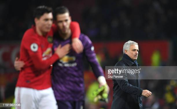 Jose Mourinho Manager of Tottenham Hotspur reacts as he leaves the field after the Premier League match between Manchester United and Tottenham...