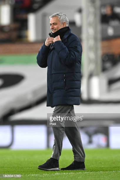 Jose Mourinho, Manager of Tottenham Hotspur reacts as he walks out prior to the Premier League match between Fulham and Tottenham Hotspur at Craven...