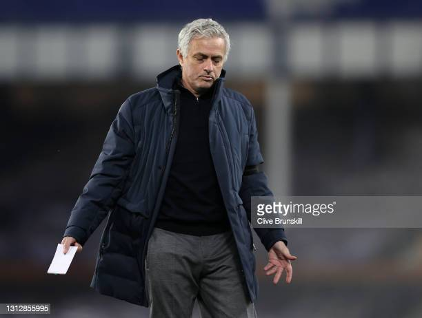 Jose Mourinho, Manager of Tottenham Hotspur reacts at half-time during the Premier League match between Everton and Tottenham Hotspur at Goodison...