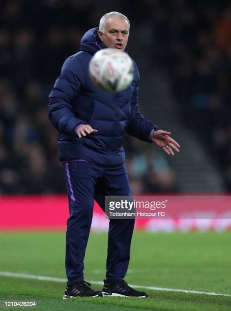 Jose Mourinho Manager of Tottenham Hotspur reacts during the FA Cup Fifth Round match between Tottenham Hotspur and Norwich City at Tottenham Hotspur...