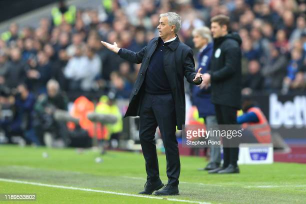 Jose Mourinho Manager of Tottenham Hotspur reacts during the Premier League match between West Ham United and Tottenham Hotspur at London Stadium on...