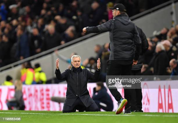 Jose Mourinho Manager of Tottenham Hotspur reacts during the Premier League match between Tottenham Hotspur and Liverpool FC at Tottenham Hotspur...