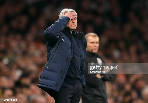 Jose Mourinho Manager of Tottenham Hotspur reacts during the Premier League match between Tottenham Hotspur and Manchester City at Tottenham Hotspur...