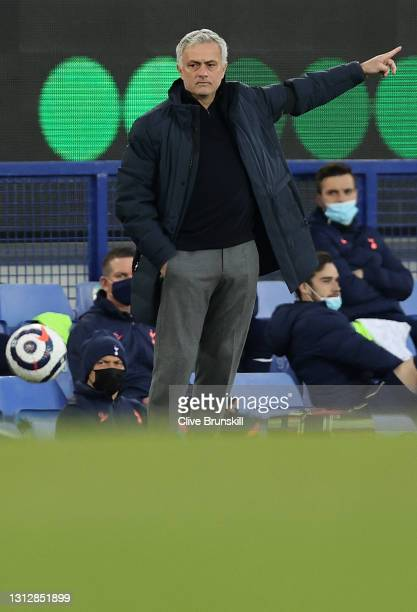 Jose Mourinho, Manager of Tottenham Hotspur reacts during the Premier League match between Everton and Tottenham Hotspur at Goodison Park on April...