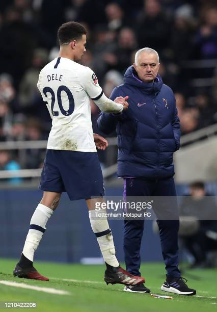 Jose Mourinho Manager of Tottenham Hotspur shakes hands with Dele Alli of Tottenham Hotspur after Dele Alli is substituted off during the FA Cup...