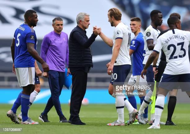 Jose Mourinho, Manager of Tottenham Hotspur shakes hands with Harry Kane of Tottenham Hotspur after the Premier League match between Tottenham...