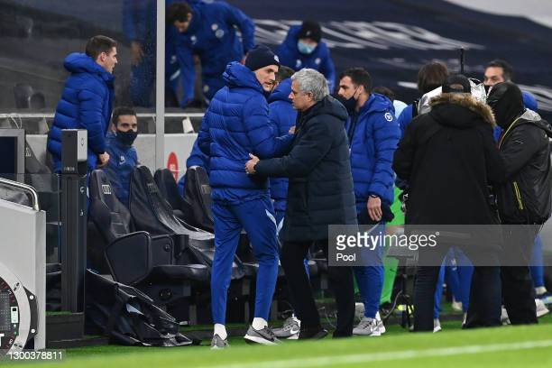 Jose Mourinho, Manager of Tottenham Hotspur shakes hands with Thomas Tuchel, Manager of Chelsea prior to the Premier League match between Tottenham...