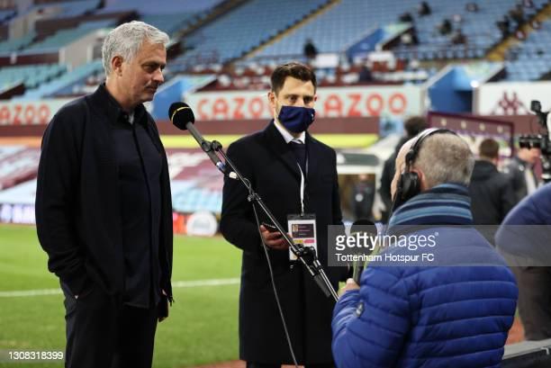 Jose Mourinho, Manager of Tottenham Hotspur speaks during an interview after the Premier League match between Aston Villa and Tottenham Hotspur at...