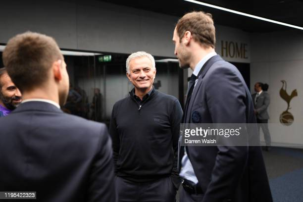 Jose Mourinho Manager of Tottenham Hotspur speaks to Peter Cech technical and performance advisor for Chelsea prior to the Premier League match...