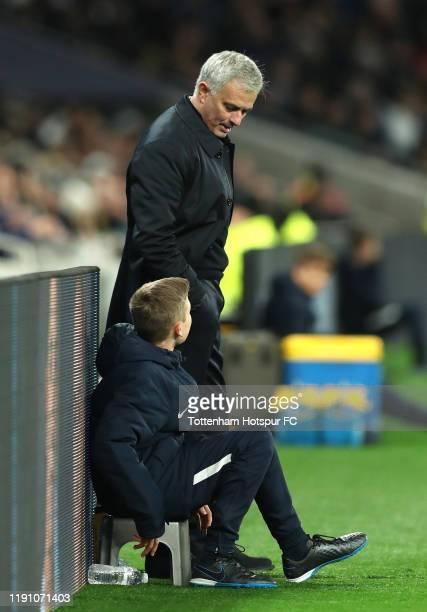 Jose Mourinho Manager of Tottenham Hotspur speaks with a Tottenham Hotspur ball boy during the Premier League match between Tottenham Hotspur and AFC...